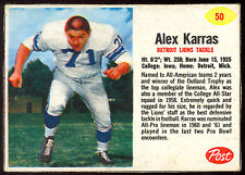 1962 POST CEREAL FOOTBALL #50 ALEX KARRAS EX+ COND DETRIOT LIONS College IOWA