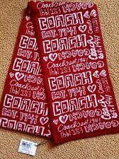 "Coach Poppy 82833 Graffiti Muffler Scarf Red White Wool Blend NWT 60"" x 7"""