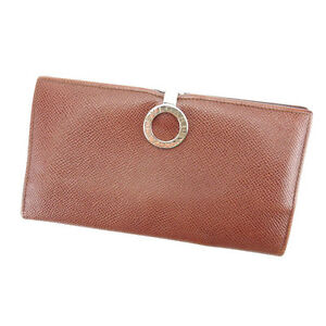 Bvlgari Wallet Purse Long Wallet Brown Silver Woman Authentic Used Y3618