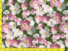 Dark Pink to Pinkish White Evening Primroses on Green By The Yard CFLGRE02510