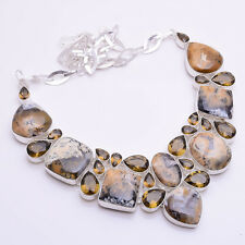 925 Sterling Silver Overlay Necklace, Gemstone Handmade Designer Jewelry PN611