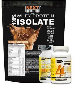 Proteine Whey Isolate gr 1000 + Aminoacidi BCAA  100CP + Creatina 60 cpr 4 fonti