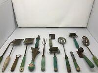 Set of 14 Antique & Vintage Kitchen Tools, Green Set