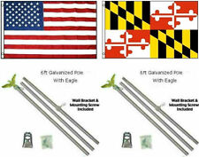 3x5 USA American & State of Maryland Flag Galvanized Pole Kit Top 3'x5'