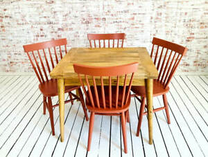 Extendable Mid-Century Rustic Modern Folding Dining Table Painted Spindle Chairs
