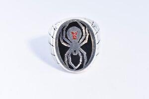 1980's Vintage Silver White Bronze Size 13 Men's Inlay Black Widow Spider Ring