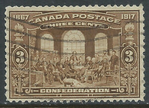 Canada #135(1) 1917 3 cent brown FATHERS OF CONFEDERATION Used CV$3.00
