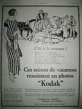 PUBLICITE DE PRESSE KODAK APPAREIL PHOTO SCENES DE VACANCES FRENCH AD 1924