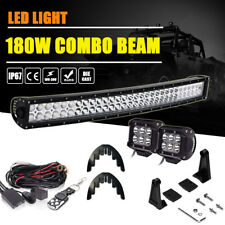 "30"" 32inch 180W LED Light Bar Hidden Bumper Mount For 05-17 Toyota Tacoma/Tundra"