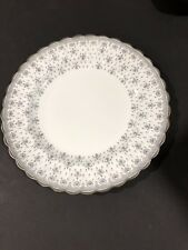 Vintage Spode Fine Bone China Fleur De Lys Grey Platinum Dinner Plate Y7515
