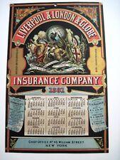 "1881 ""Liverpool & London & Globe"" Insurance Co. Advertising Calendar *"