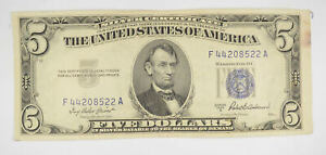 RARE - Crisp 1953-A - Silver Certificate $5 Blue Seal $5.00 Higher Grade! *101