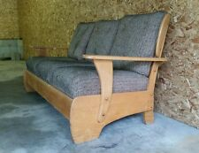 Vintage 1950s Early American Revival Mid Century Wood Danish Maple Sofa Couch