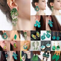 Fashion Green Crystal Statement Earrings Women Drop Dangle Wedding Party Jewelry