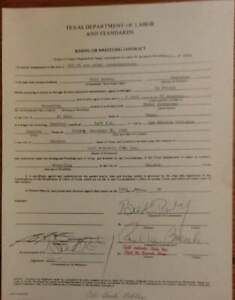 COL. BUCK ROBLEY ORIGINAL SIGNED CONTRACT SIGNED BY PAUL BOESCH WRESTLING