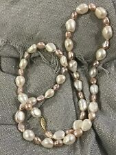 """JAPANESE AKOYA BAROQUE CULTURED White Pink  PEARL 23"""" NECKLACE 5-9mm 14k gold"""