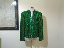 80s Lilli Diamond Emerald Green Sequined Jacket Sz M
