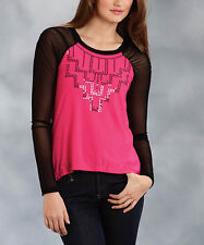 NWT ROPER Pink & Black Mesh Sleeve Raglan Top with Black Sequins M $54.95