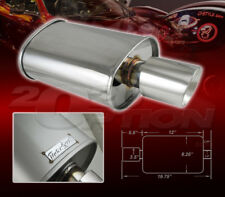 DOUBLE-WALL SLANT TIP MUFFLER OVAL SPUN-LOCK TANK FOR ACURA CHEVY DODGE POLISHED