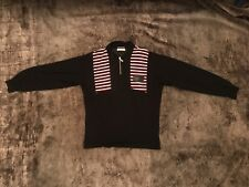 Benzini zip-up top in black with red and white details in size S