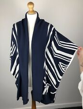Tommy Hilfiger Navy Blue/ White Avani Stripe Wrap Cape Poncho One Size (M) BNWT