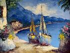 "Camprio Vintage Italian Oil Painting Canvas Signed ""The Island of Capri"" RARE"