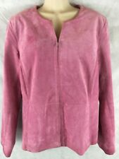 Charter Club Woman Pink Rose Leather Suede Zip Up Lined Jacket Size 10