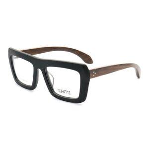Large Oversized Retro Eyeglass Frames Men Women Wooden Wood Rx Glasses Square