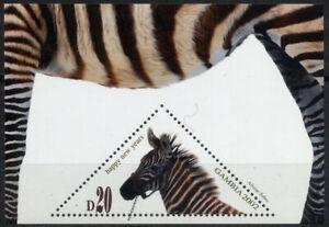 Gambia 2002 Zebra Fauna Wild Animals Triangular Odd Shape Stamp Miniature sheet