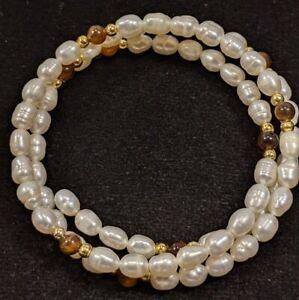 Artisan Freshwater Pearl Brown Tigers Eye Memory Wire Wrap Bracelet 12041