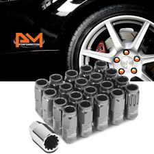 M12X1.25 Gunmetal JDM Open End Cone Wheel Lug Nut+Spline Lock+Key 21mmx50mm 20Pc
