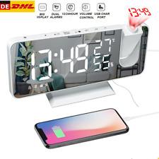 LED Digital Wecker Projektionswecker mit USB-Anschluss Snooze Dual-Alarm Funkuhr