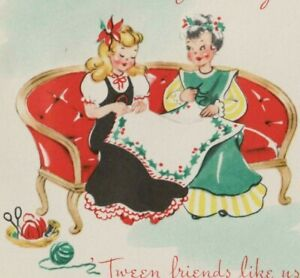 VINTAGE 1940'S POP UP CHRISTMAS GREETING CARD FRIENDS QUILTING UNUSED