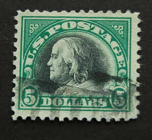 1918, US Scott 524, $5 Franklin Used