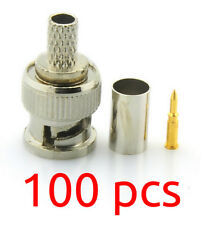 BNC Crimp Connectors for RG59 CCTV Coax PACK of 100 - Used by the Pro's