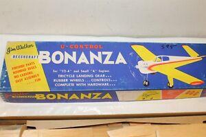 "VINTAGE JIM WALKER BONANZA CONTROL LINE U/C MODEL AIRPLANE KIT 20"" 1/2 A ENGINES"
