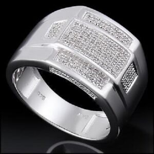 Dressy Men's 14K White Gold Over Solid Sterling Silver 0.35 CTW Diamond Size 11D