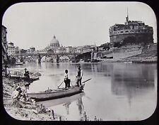 Glass Magic Lantern Slide MEN FISHING IN RIVER ROME C1890 VICTORIAN PHOTO ITALY