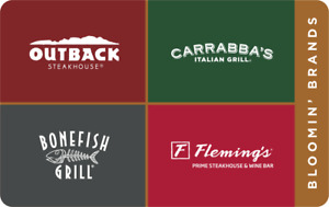 $50 Outback, Bonefish, Carrabba's, Flemings' PDF Gift Cards USPS Delivery