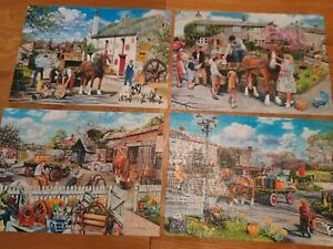 Gibsons, Rag & Bone, 4x500 Piece Jigsaw Puzzle 3 complete one a piece missing 😕