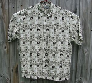 John Henry Button Front Men's Size Large Geometric Squares Brown, Beige Shades