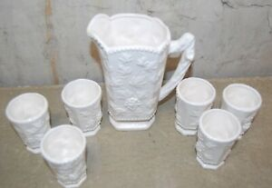 Traditional Americana by Arnart Pitcher w 6 Fruit Glasses White Grape Design