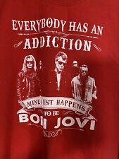 Bon Jovi Crewneck Sweater Red Large Sweatshirt Gildan Band Concert Rock Rap