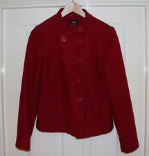 "LADIES OASIS RED WOOL PEA COAT , Size 8 , 34"" BUST"