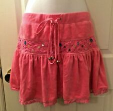 Women's NWT Sweet By MISS ME Pink Terry Cloth Skirt Tiered Beads Sz S Crochet