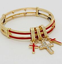 Red Bangle Cross Stretch Charm Metal Gold Chunky Costume Bracelet