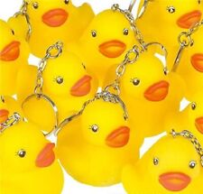 "Lot of 12  Rubber Duckies 2"" Keychains Kid's Birthday Party Favors"