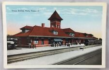 Antique Postcard Union Train Station Depot Paris Texas TX PC