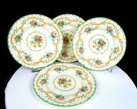 "ROYAL DOULTON ENGLAND #V2173 THE SUTTON FLORAL 4 PIECE 7 1/8"" SALAD PLATES 1928-"