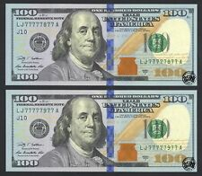 Fr. 2183-J $100 2009A Federal Reserve Note. 2 Nearly Solid Serial Numbers UNC
